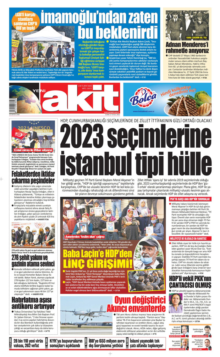 YENİ AKİT Gazetesi 17 Eylül 2021, Cuma Günü Manşeti