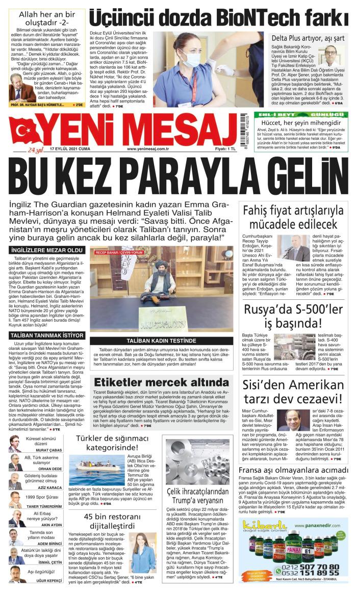 YENİ MESAJ Gazetesi 17 Eylül 2021, Cuma Günü Manşeti