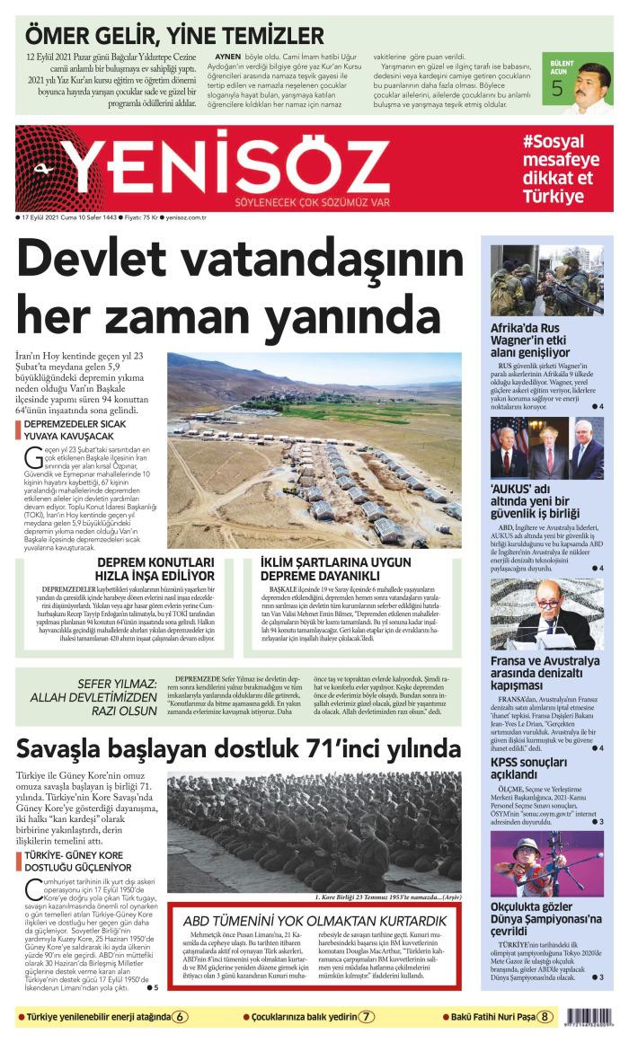 YENİ SÖZ Gazetesi 17 Eylül 2021, Cuma Günü Manşeti