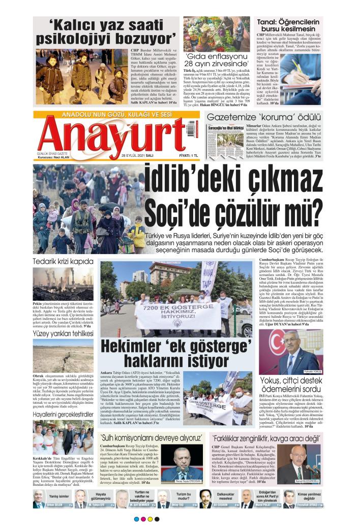 ANAYURT Gazetesi 28 Eylül 2021, Salı Günü Manşeti