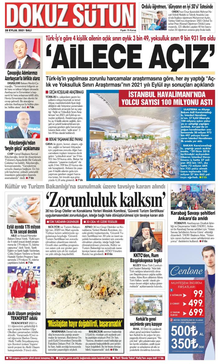 DOKUZ SÜTUN Gazetesi 28 Eylül 2021, Salı Günü Manşeti