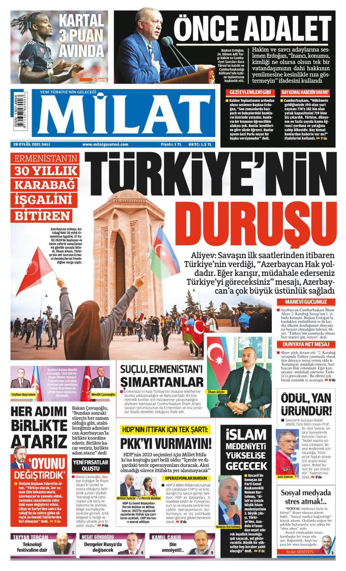MİLAT Gazetesi 28 Eylül 2021, Salı Günü Manşeti
