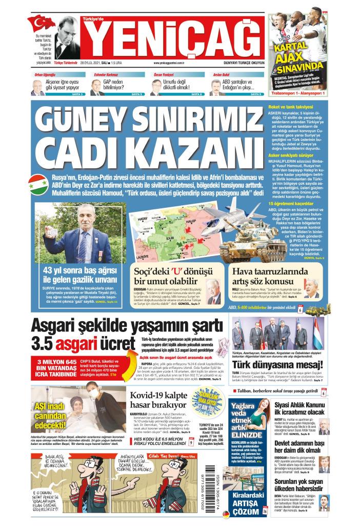 Türkiye'de Yeni Çağ Gazetesi 28 Eylül 2021, Salı Günü Manşeti