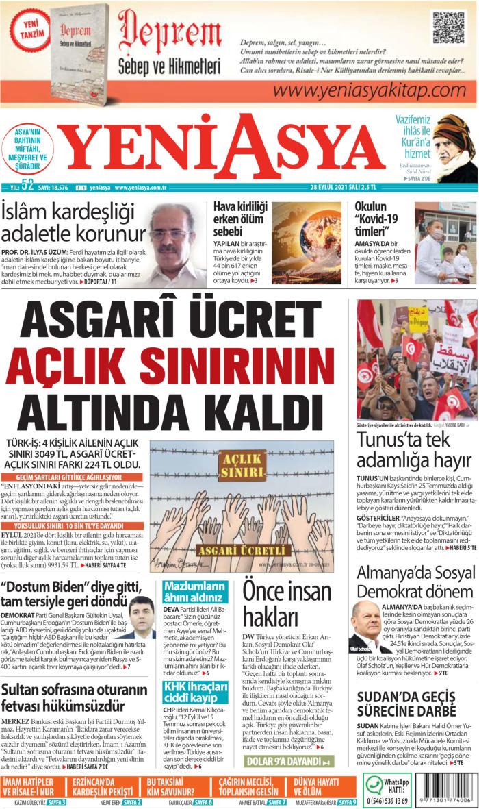 YENİ ASYA Gazetesi 28 Eylül 2021, Salı Günü Manşeti