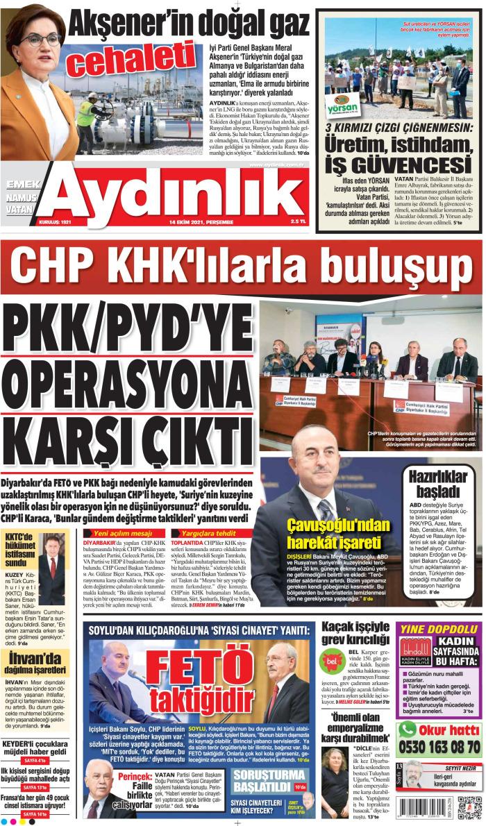 AYDINLIK Gazetesi 14 Ekim 2021, Perşembe Günü Manşeti