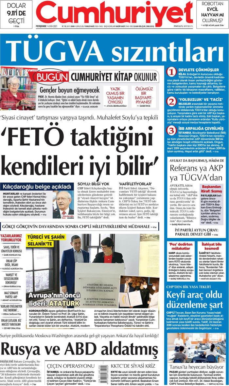 CUMHURİYET Gazetesi 14 Ekim 2021, Perşembe Günü Manşeti