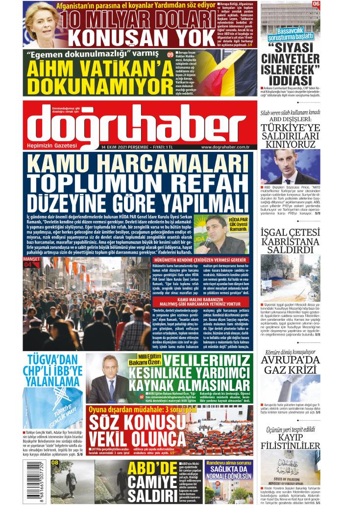 Doğru Haber Gazetesi 14 Ekim 2021, Perşembe Günü Manşeti