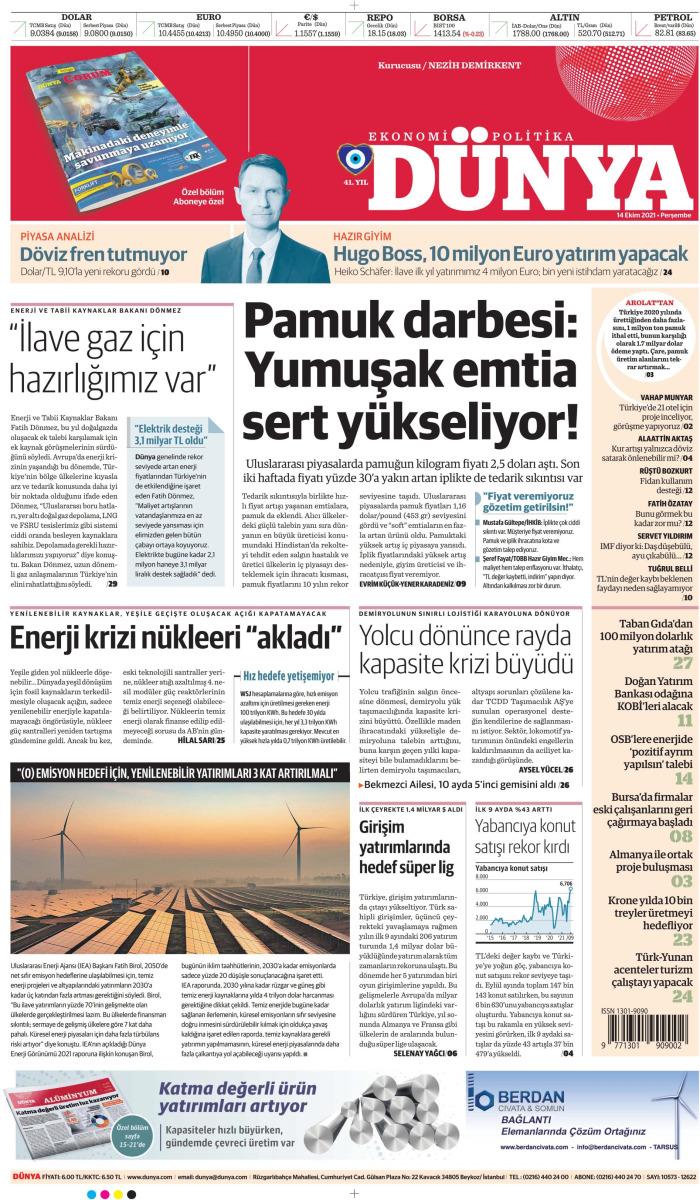 DÜNYA Gazetesi 14 Ekim 2021, Perşembe Günü Manşeti