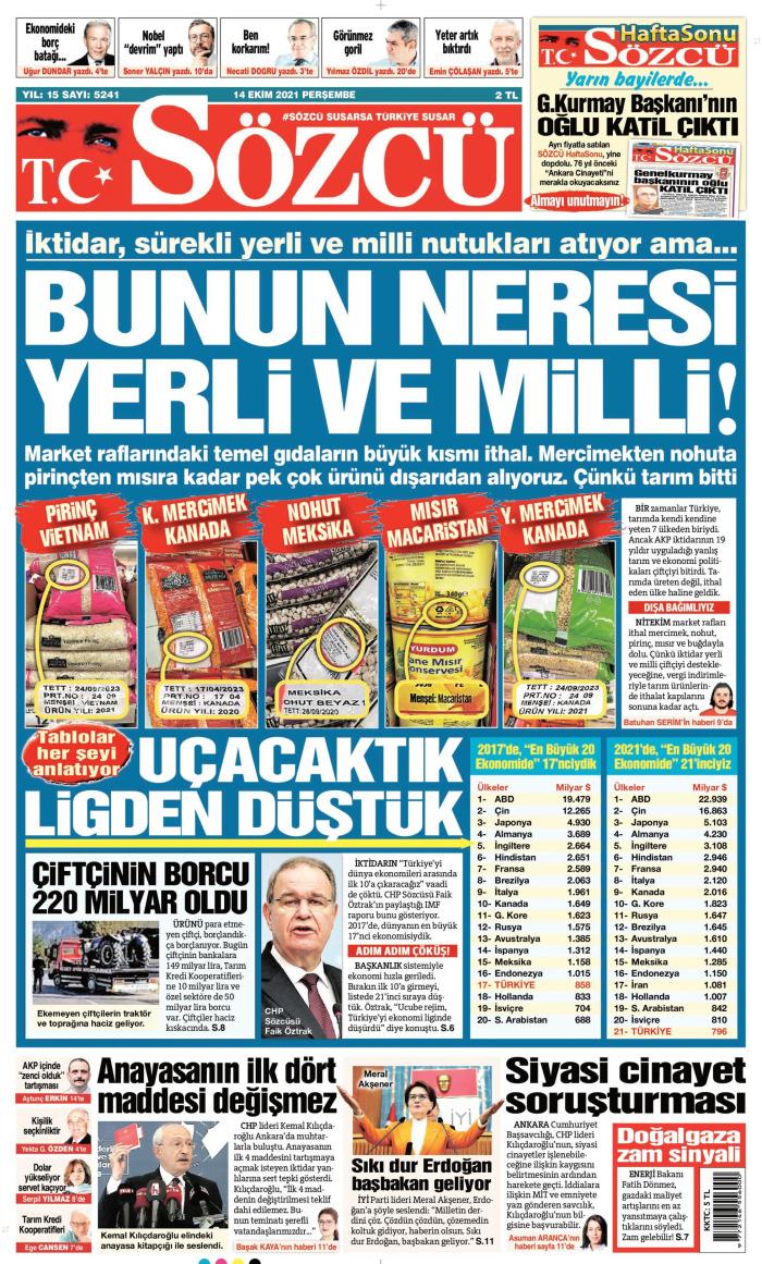 SÖZCÜ Gazetesi 14 Ekim 2021, Perşembe Günü Manşeti
