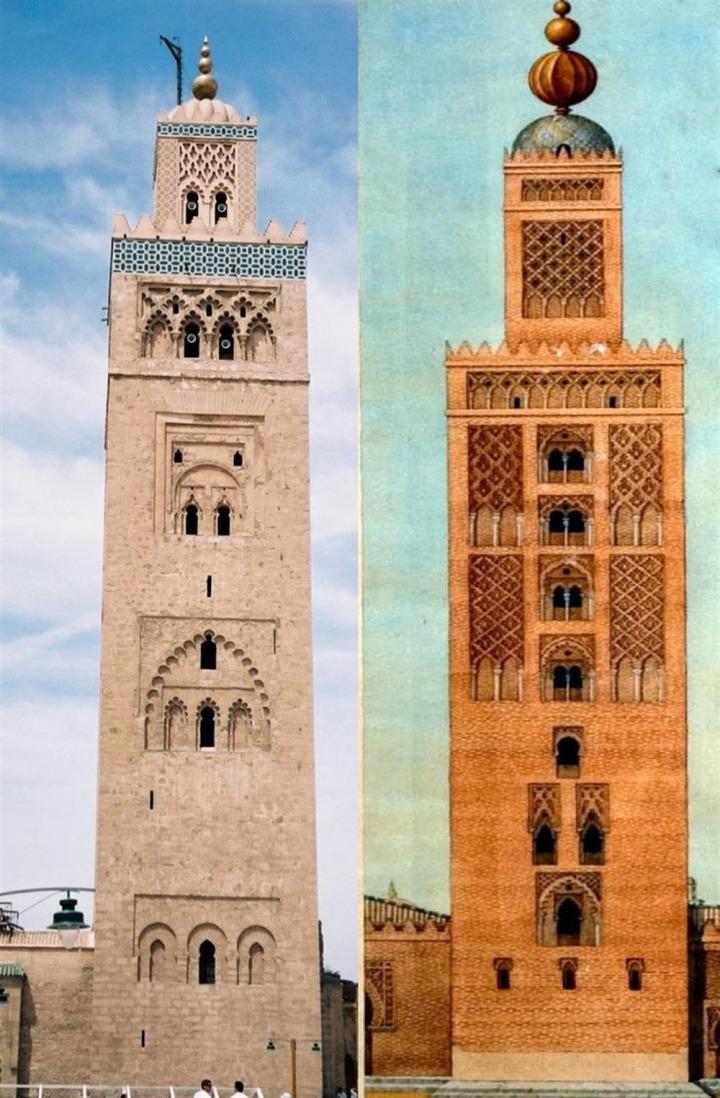 İşbiliye Ulucamii'nin minaresi (sağda) Muvahhidlerin başkenti Marakeş'teki Kutubiye Camii'nin minaresi ile aynı mimari özelliklere sahipti.
