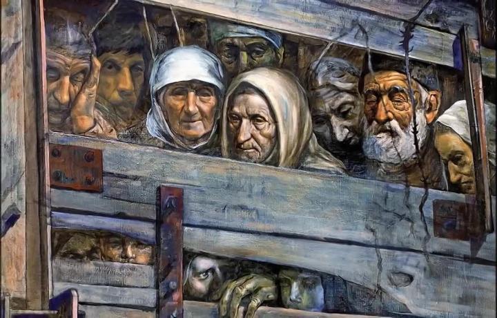 Karaçay Sürgünü'yle ilgili çizilmiş bir eser. (Resim: Rüstem Eminov)