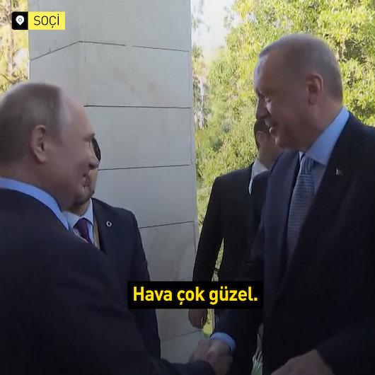 Cumhurbaşkanı Erdoğan'ı kapıda karşılayan Putin: Siz geldiniz hava ne kadar güzel oldu