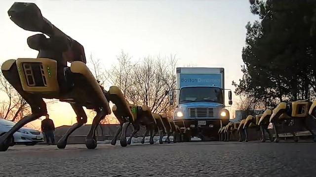 Boston Dynamics'in robotları yokuş yukarı kamyon çekti