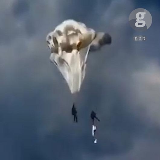 Paraşütü açılmayan askerin yardımına 'body'si yetişiyor