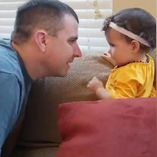 Babasının sakalsız halini ilk kez gören ufaklığın yıkıldığı anlar