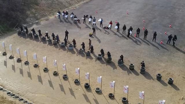 Polis ve bekçilere komando eğitimi havadan görüntülendi