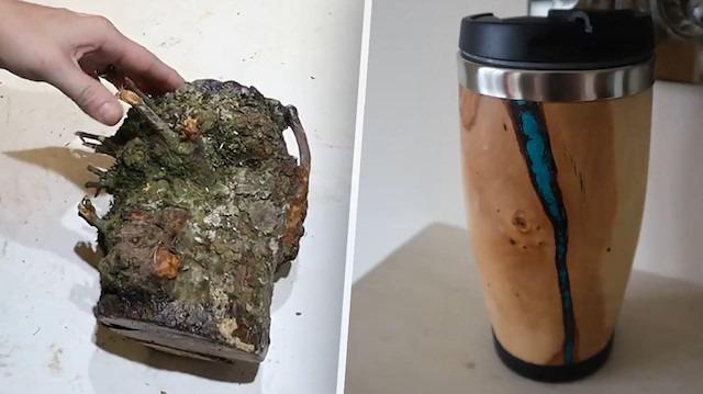 Ağaç kütüğünden muhteşem bir kahve termosuna