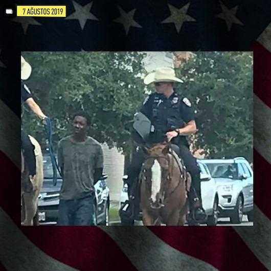 Teksas'ta ırkçı gözaltıya tepki yağıyor: Atlı polis, iple bağlayıp götürdü