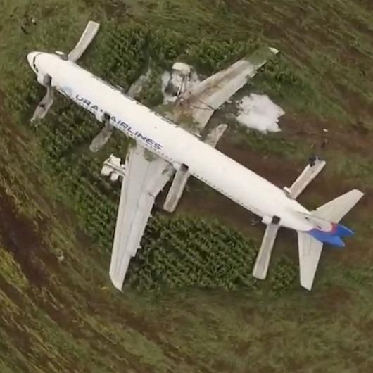 Moskova'da uçak martı sürüsüne çarpıp mısır tarlasına acil iniş yaptı