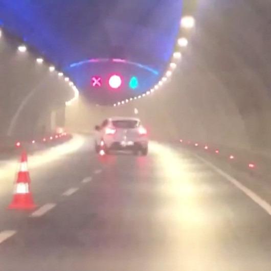 Avrasya Tüneli'nde dubalara makas atan sürücü tehlike saçtı