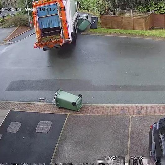 Çöp kamyonuyla çöp bidonlarını devirip kaçan şoföre tepki yağdı